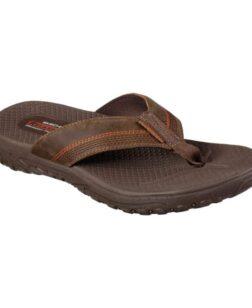 heren slippers skechers bruin