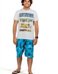 model boardshort, korte broek, zwembroek blauw